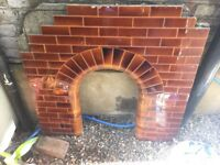 Brown fireplace tile insert - with some tiles missing - FREE on collextion