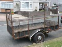 Large trailer 8x4 with tailgate, ladder rack' new tyres *spares or repair*