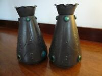 A Pair of Lovely Small Pewter Vases with Coloured Porcelains Inserts in Cabochon Style.