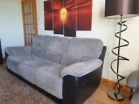 3 Seater Recliner Sofa, Cord & Faux Leather, Couch, Settee