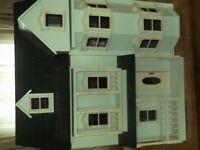 GREEN WOODEN DOLLS HOUSE