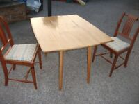 FOLDING DINING TABLE AND TWO RECENTLY UPHOLSERED CHAIRS