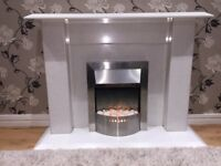 White Marbel Fire Place and Fire