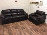 Harvey's leather sofa + chair (free delivery)