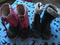 Girls winter boots size 8 worn - two pairs