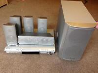 Panasonic surround sound DVD player (with 4x speaker stands)