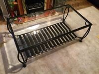 Quality Stylish Glass & Black Metal Frame Coffee Table Good Condition