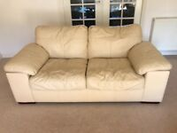 2 Seater & 3 seater Leather Sofa - Cream