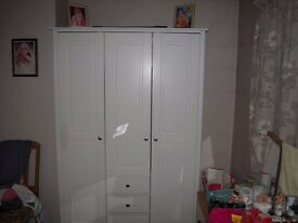 White Solid Wood Wardrobe In Excellent Condition