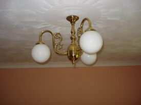 Brass Ceiling Light Fitting & 2 x Bedside Lamps