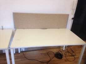 office rectangle desk white with divider