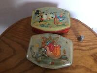 2 vintage tins featuring Pussy Cat and Mickey Miuse