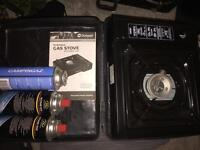 Portable gas stove and three full canisters
