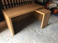 Ikea Malm Oak Veneer Desk with Pull Out Panel