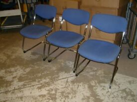 BLUE FABRIC CHAIR ON A CHROME CANTILEVER FRAME - STACKING