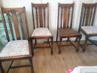 Four Vintage Oak Dining Room Chairs
