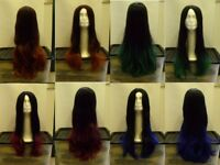 Long Ladies Wig With Coloured Ends Blue/Green/Maroon/Light Auburn