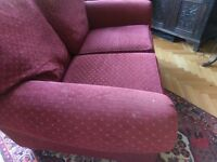 2 seater red sofa (M &S)