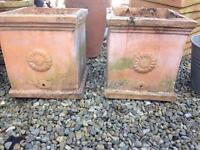 2 XL terracotta garden pots planters nicely weathered