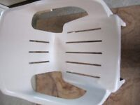 Oasis white plastic chair excellent condition. Comfy ergonomic design, strong, stable and stackable.