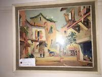 Very Nice Vintage 1950s Original Framed & Glazed Print by D'oyly John 'Valbonne' France
