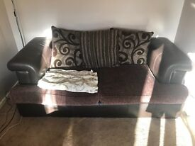3 and 2 seat brown leather and material sofa