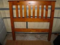 Pine single bed frame (no mattress). Soild wood, slatted base.