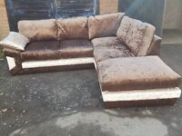 Fabulous 1 month old brown crushed velvet corner sofa &footstool,or larger corner.delivery available