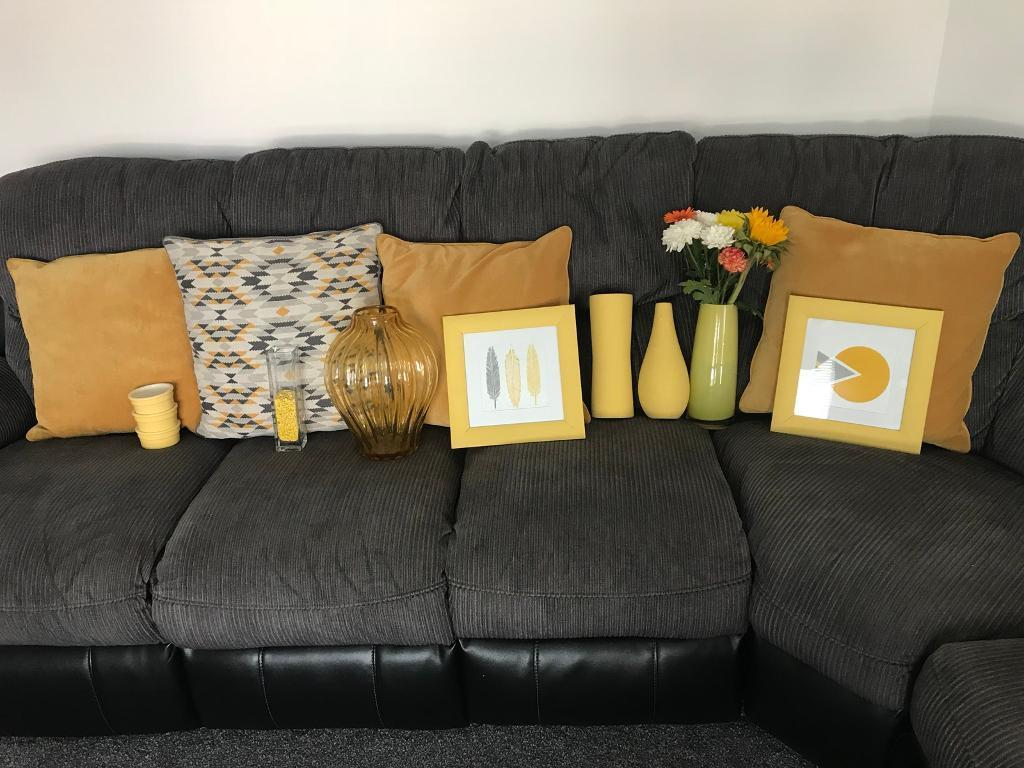 Grey and mustard living room accessories in irvine - Mustard grey and white living room ...