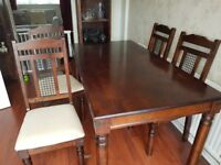 ALL FURNITURE - Table and four chairs, freestanding shelves and drawer x2, tv unit, sideboard