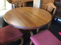 Solid Teak Round Extending Table - Including 4 Chairs