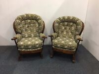 Matching Wooden Fireside Cottage Armchair And Rocking Chair