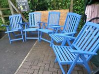 FIVE HARDWOOD FOLDING AJUSTABLE GARDEN CHAIRS