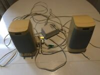 PC Twin Speakers - Altec Lansing - with Multi Media Adapter and Microphone - Good Condition