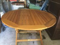 Teak folding garden table round five foot seat eight