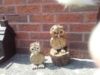 made by hand wooden owls Large £10 small £6 for inside or out side