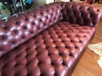 Chesterfield Sofa Three Seater | Leather Red | RRP £1199