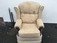 Very Nice Clean Looking Wing Back Beige Fabric & Wood Armchair Arm Chair