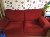 Red 3 seater sofa and armchair FREE