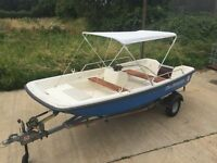 13FT ORKNEY DORY BOAT WITH GALVANISED SBS TRAILER FISHING SPORT RIVER SEA