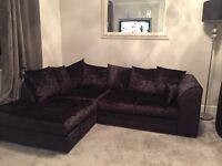 Black Crushed Velvet Corner Sofa and Swivel Chair