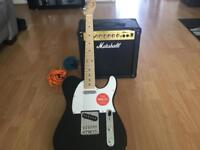 Fender Squier Affinity Telecaster Electric Guitar and Marshall Amplifier