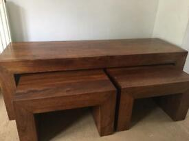 Brown Coffee table set of three in good used condition