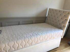 Beautiful white velvet single bed