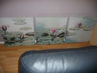 "NEXT SET OF 3 WALL CANVASSES ""LILLIES ON A POND"" COST £125.LOVELY CONDITION."