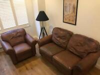 LAURA ASHLEY LEATHER SOFA AND ARM CHAIR
