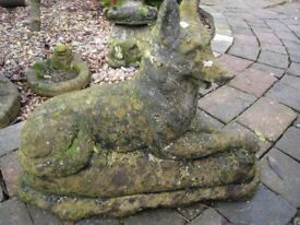 vintage GARDEN ORNAMENT- super large ALSATION DOG- very weathered-very old- 41cm high 57cm long