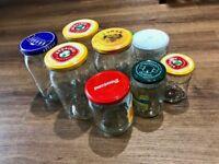 Jam Jars (assorted) x 9