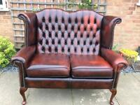 Beautiful Queen Anne Chesterfield Ox blood Leather 2 seater sofa.