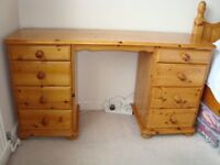 Solid Pine Double Pedestal Dressing Table